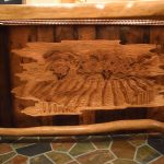 Bar with vineyard carving